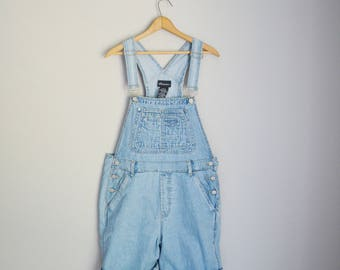 vintage 90s light wash overall shorts shortalls -- womens large
