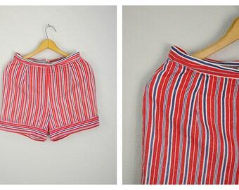 "vintage 50s high waisted striped cotton denim shorts -- womens small -28"" waist"