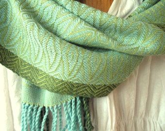 Turquoise and Green Silk, Merino and Bamboo Handwoven Scarf