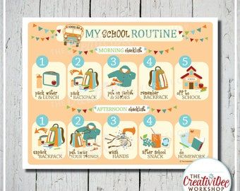 School Routine Chart | Before and After School Routine | Orange | Children's Chart | Printable School Chart | Pink | Chart for School