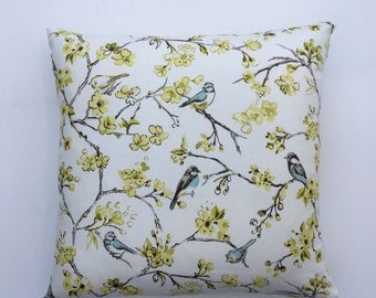 Bird Pillow Cover, Bird Cushion Cover, Yellow Floral, Spring Blossoms, Easter Decor,  14x14, 16x16, 17x 17, 18x18, 20x20 22 x 22. 24 x 24