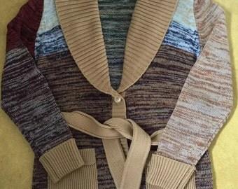 Vintage 70s Hand Loomed Hippie Boho Belted Wrap Cardigan
