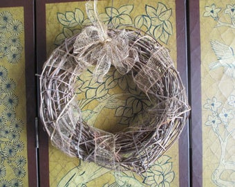 Vintage Grapevine Wreath With Ribbon Bow