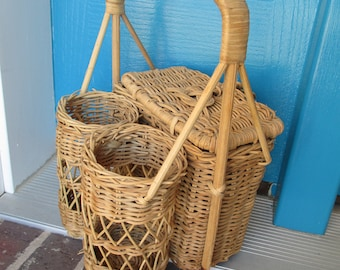 Wicker Basket With Drink Holders