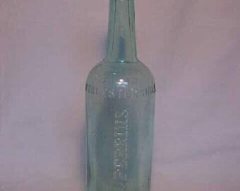 c1890s Large Quart Size Lea & Perrins Worcestershire Sauce, Cork Top Aqua Blown Glass Food Sauce bottle