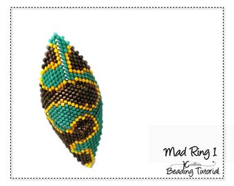 Beading Pattern Peyote Stitch Shield Shaped Triangle Tribal Rings Charted Instructions DIY beaded Jewelry Tutorial PDF Download MADRING  1