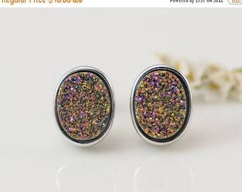 40 OFF - Rainbow Titanium druzy studs - Rainbow Stud Earrings - Rainbo Druzy Stud Post Earrings - Silver Stud - Oval Studs - Druzy Studs