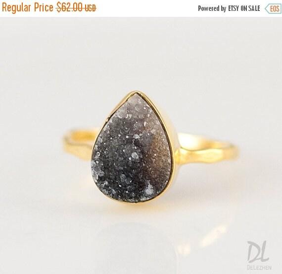 40 black druzy ring grey druzy ring gemstone by delezhen