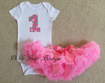 1st Birthday Girl Outfit - Pink and Green Watermelon Birthday - Bodysuit - Bubblegum Pink Pettiskirt Tutu - Baby Girls First Birthday Outfit