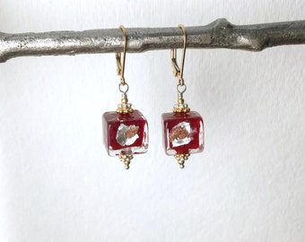 Venetian murano bead earrings, red silver and gold Foil Venetian Cubes 10mm, lamp work glass bead earrings, 14kt gold filled E162