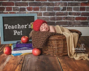 Baby Apple Hat, Chunky Beanie, Baby Fall Hat, Photography Prop