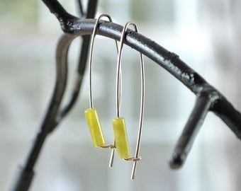 Olive Jade Modern Earring, Yellow Green Gemstone Earrings, Long Sleek Earrings, Sterling Silver Gemstone Earrings