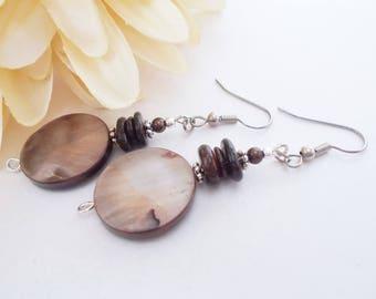 Yoga Jewelry, Mother of Pearl Earrings Shell Earrings, Brown Drop Earrings, Beaded Earrings, Hippie Earrings, Artisan Bohemian Jewelry