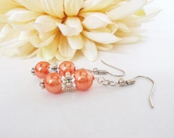 Coral Orange Pearl Earrings, Orange Bridesmaid Jewelry Gift for Her, Bridal Party Jewelry, Boho Bridesmaid Gift, Flower Girl Earrings