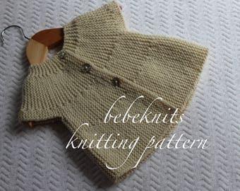 European Knitting Patterns : Bebeknits Simple French Style Baby Cardigan Knitting Pattern