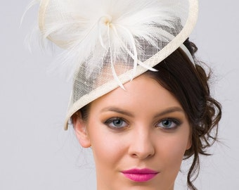 "Ivory Twist Mesh Fascinator - ""Victoria"" Ivory Mesh Fascinator Hat Headband with Ivory Flighty Feathers"