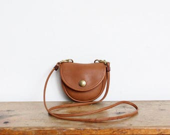 Vintage Coach Bag // Mini Messenger Crossbody Belt Bag in British Tan Purse Handbag