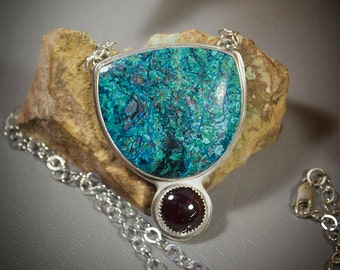 Chrysocolla and Garnet Sterling Silver Pendant  50-0129