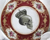 ANY DESIGN - Red and Gold  Customized Vintage Plate, Personalized China, Monogram Wedding Plate, Bespoke Tableware, Skull China