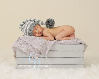 Newborn Baby Stocking Cap, Stocking Hat, Photo Prop, Photography Prop, Boy Hat, Girl Hat, Infant Stocking Cap, Elf Hat, Striped Stocking Hat
