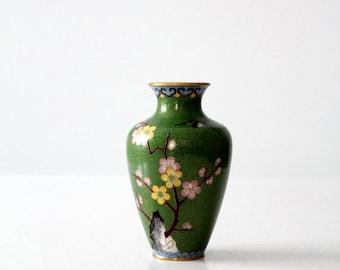 SALE vintage Chinese cloisonné vase, small green floral enamel brass vase