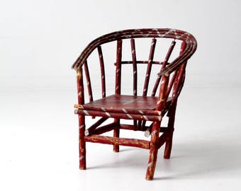 antique folk art children's chair, bentwood twig chair