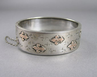 Antique French Bracelet, Fleur de Lis, Rose Gold Vermeil, 850 to 900 Silver, Engraved, Hinged Bangle