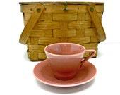 Harlequin Rose Flat Cup and Saucer Set, Vintage Homer Laughlin China
