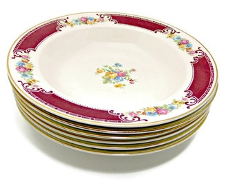 Vintage Homer Laughlin Large Rim Soup Bowls in Majestic Pattern W538 - Set of 6