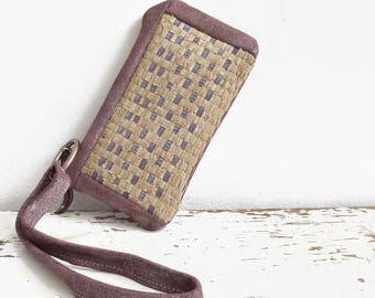 Travel Wallet with Wristlet Strap.  Organiser. Handweave - Plum Shimmer Suede Leather - Ready to Ship