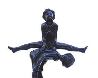 Vintage Art Bronze Statue Children Playing Leapfrog Cast Metal Sculpture Boy Girl Sister Brother Mom Teacher Gift