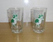Vintage Advertising - 2 Nestle Milk Drinking Glasses, Green Cow Milk Glasses, Drinking Glass