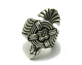 Sterling silver solid 925 ring eagle pendant