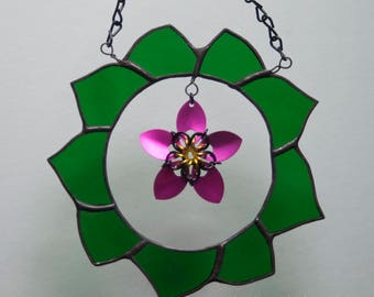 Stained Glass Green Wreath with Scale Maille Pink Flower - mixed media