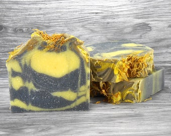 Black Chamomile Soap - New Fragrance for 2017 - Activated Charcoal and Calendula Petals
