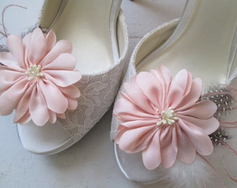 Blush Wedding Shoe Clips, Bride's Dusty Pink Flower Shoe Clips, Rosewater, Gatsby Bridal 20s Shoe Clips, Accessories