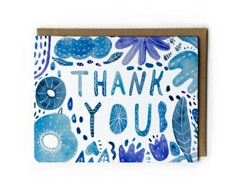 Thank You Cards, Watercolor Greeting Card, Handlettering Greeting Card, Blue Watercolor Abstract, Blue Flower, Folded Notecard, A2, 4.25x5.5