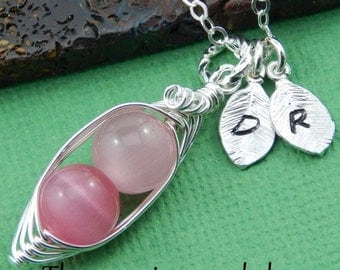 Mothers Day Sale Peas in a pod, Two peas in a pod, silver pea pod necklace, pink peas in a pod, Personalized initial necklace, mothers neckl