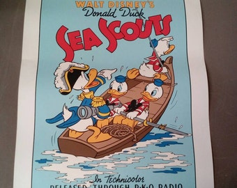 """Walt Disney Donald Duck Movie Poster Sea Scouts 1939 10 Color Fine art Serigraph by Circle Fine Art 31"""" by 22 1/2"""""""