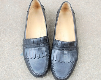 Vintage Mens 11.5m Gh Bass Tailored Kilty Fringe Slip On Loafers Leather Black Wedding Suit Dress Shoes Oxfords Boat Shoes Classic Hipster
