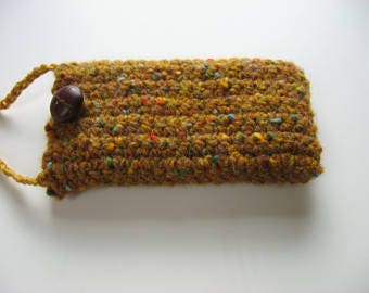 wool iphone 3GS 4 4S 5 pouch with shoulder strap