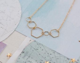 Geometric Necklace, Geometric Pendant, Gold Hexagon Necklace, On Trend Gold Necklace, Hexagon Charm, Geometric Charm, Teenager Gift