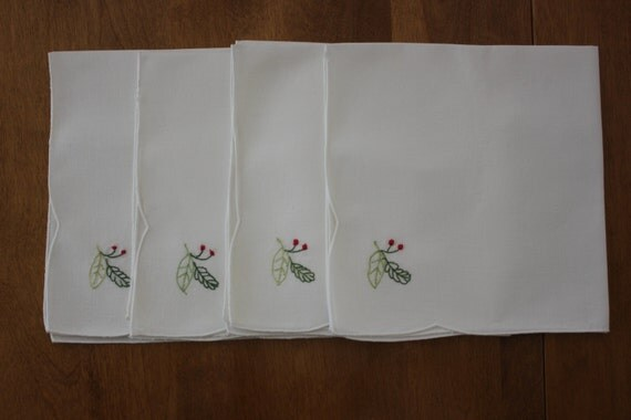 Vintage Embroidered Table Napkins.  White with dainty flower embroidery, set of 12