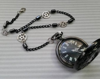 Ebony Black Pocket Watch