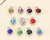 Birthstone crystal charm--Colorful glass mini charm--12 colors  mixed--10pcs--G2005--anti tarnish never bauble