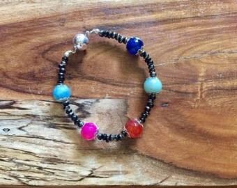Samantha Bracelet in Colorful with Black & Silver. Gemstone jewelry semiprecious stones natural boho bohemian jewellery beaded amazonite