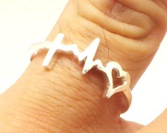 Faith Cross Heartbeat Ring - Hope Ring, Believe Ring, Gift for her, Bapitsm Gift