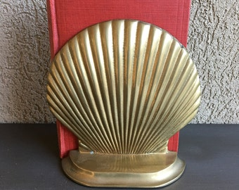 Vintage Brass Shell Bookend Gold Metal Seashell Single Book End - #F1107