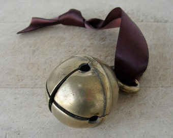 """VINTAGE BRASS BELL France Large Size 1 3/4"""" Diameter Deep Dull Tone Hanging Loop French Country Sleigh 6 Sound Holes 1900's"""