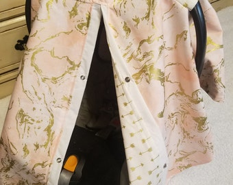 carseat cover Pink Gold Marble Arrow Cover READY TO SHIP